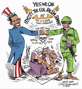 cartoon 2009 Obama_boycotts_racism_summit_by_Latuff2